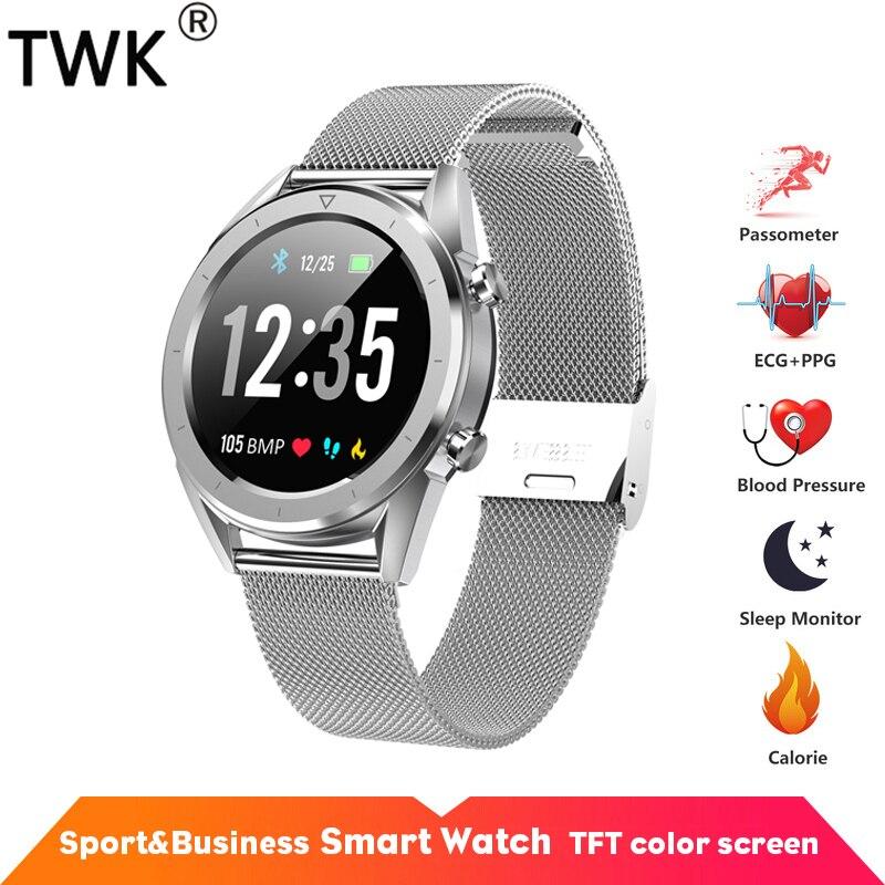 TWK Men's Watch ECG Heart Rate Smart Watch IP68 Waterproof Watches Sliver pk xiaomi mi band 3 Business Sport relogio inteligente