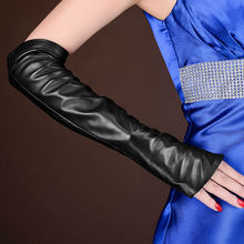 ФОТО new deluxe women's opera long flounce gloves fingerless genuine lambskin leather black & pink