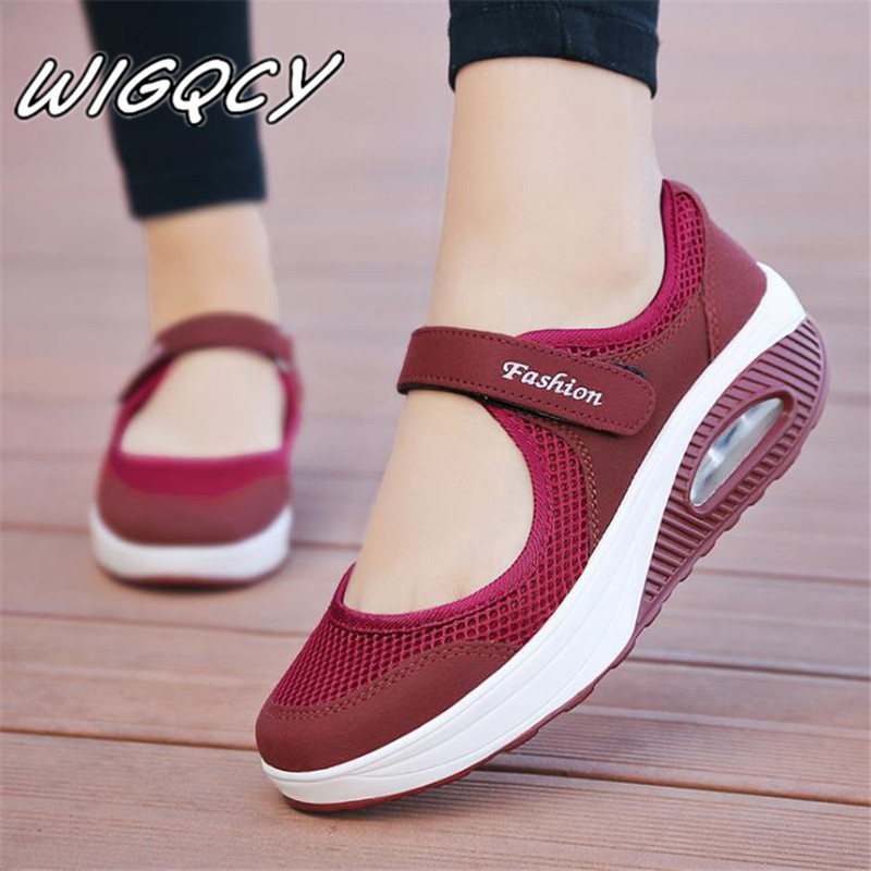 2019 Summer Fashion Women Platform Shoes Woman Breathable Mesh Casual Shoes Moccasin Zapatos Mujer Ladies Boat Shoes
