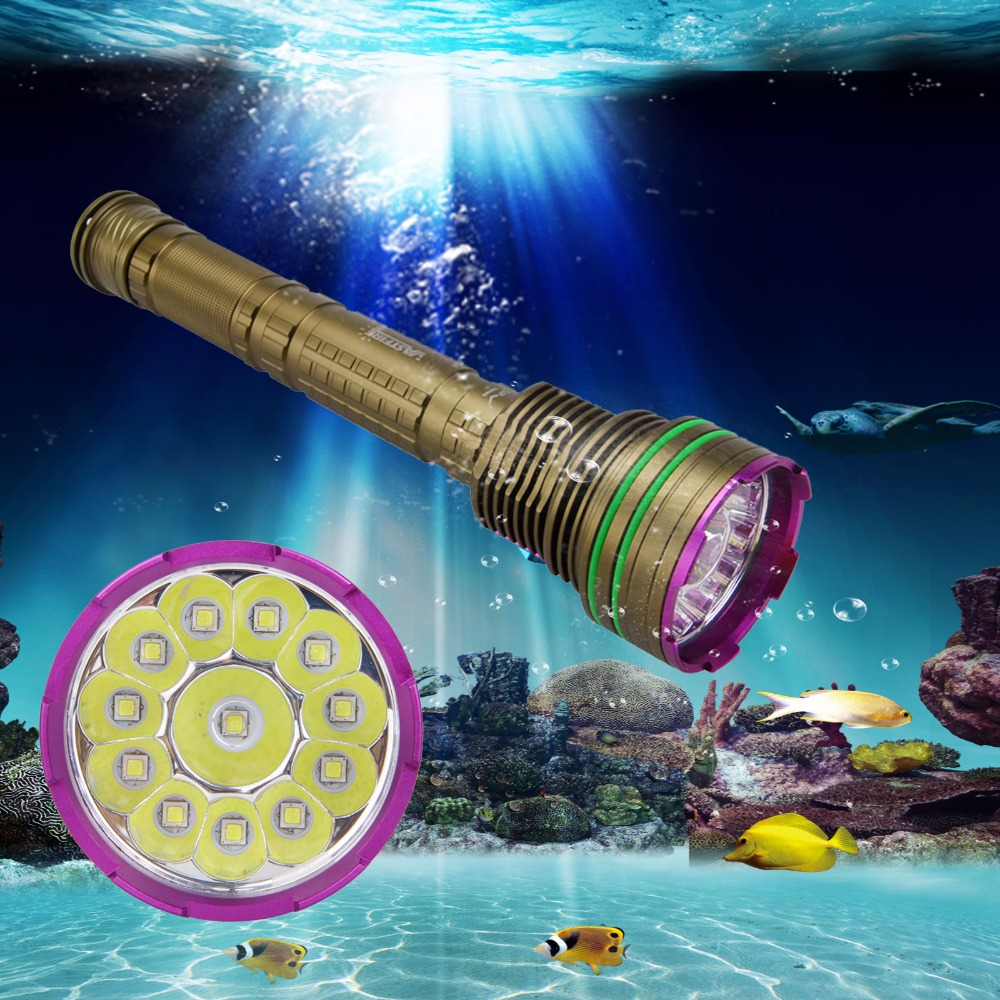 Tactical Flashlight 30000LM Underwater Diver Torch 12X XM-L2 LED DIVING Scuba Torch Light 3x18650 or 26650 Battery led cree xm l2 powerful scuba diving flashlight xml l2 archon hunting underwater light rechargeable torch 18650 or 26650 battery