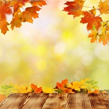 Laeacco Yellow Backdrops Fallen Leave Maple Light Bokeh Autumn Wooden Board Newborn Baby Photo Background Photocall Photo Studio цена