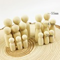 Family Peg Dolls(55mm-35mm)Best Kids Birthday Gifts Handmade Maple Wood Unpainted Weddings Cake Dolls Home/room Decor Dolls Toys