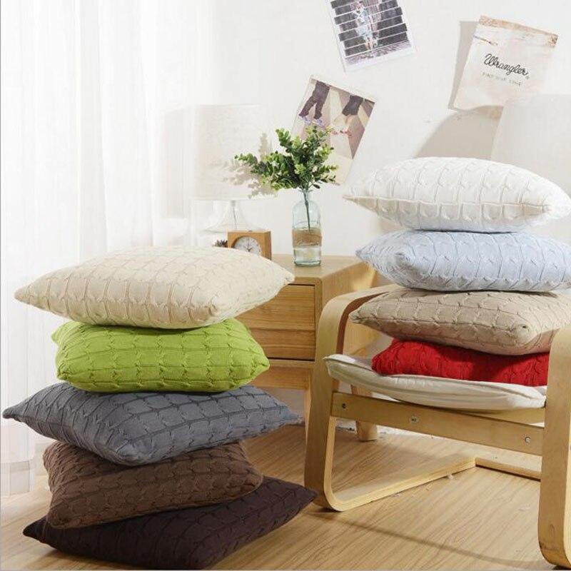 100% хлопок вязаный сплошной Чехлы для подушек Пледы Подушки Детские Обложка для диван автомобильное кресло Подушки дело 45x45 см без начинки