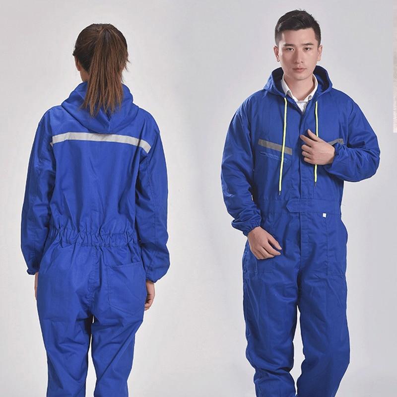男性女性は長袖フード付き反射ストリップオーバーオール自動車修理エンジニアリングスプレーペイント作業服作業  グループ上の セキュリティ & プロテクション からの 安全服 の中 2