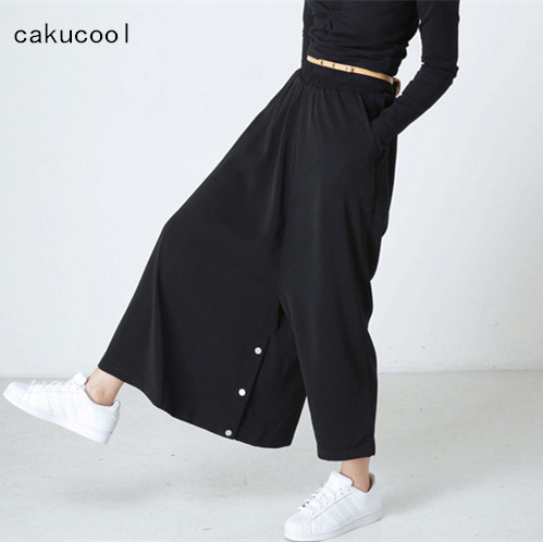 Cakucool Hot Summer Long   Wide     Leg     Pants   Women High Waist Casual Novelty Pantalons Personality Designer Loose   Pant   Capris Female