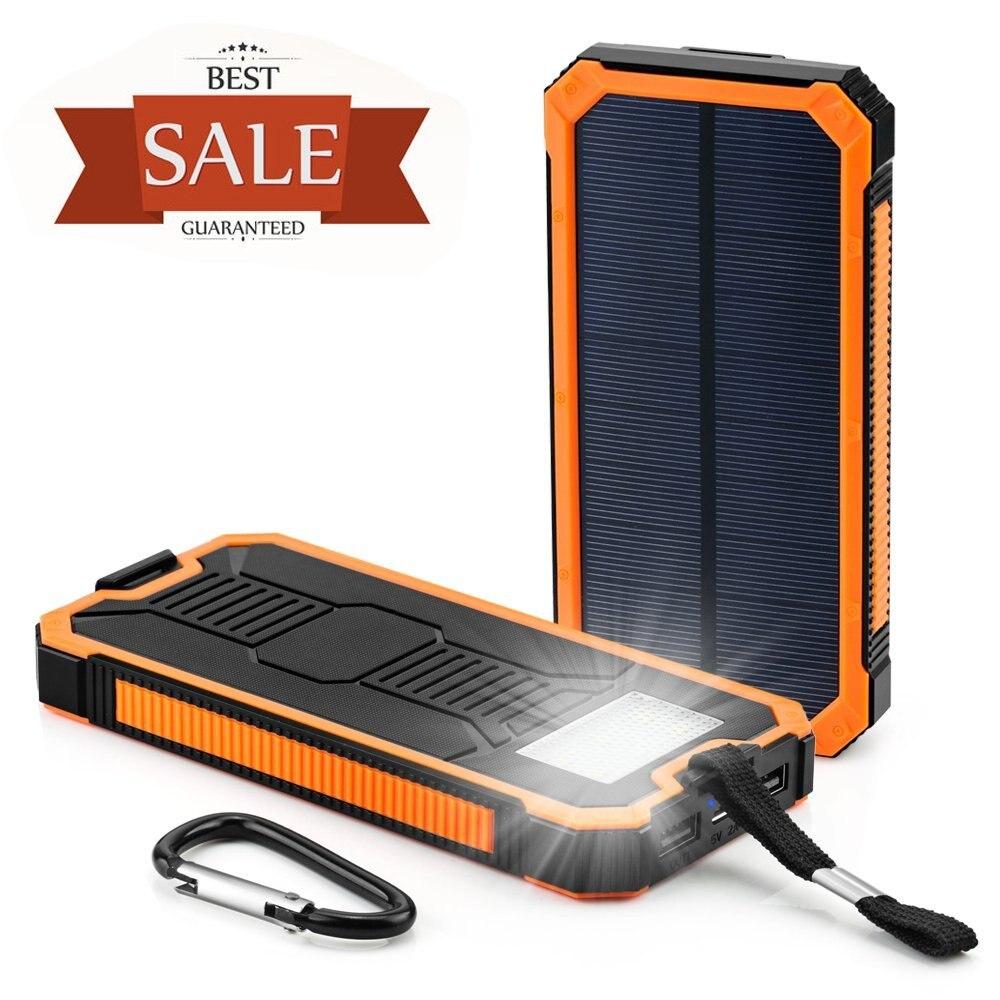 imágenes para Cargador Solar Del Teléfono Celular, 10000 mAh Banco Portable de la Energía Solar de Doble g, htc, nexus smartphone, Cámara Gopro, GPS y