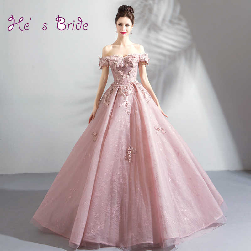 He s Bride New Pink Evening Dresses Boat Neck Appliques Elegant Short  Sleeves Ball Gown Floor Length 700f960ea4b5