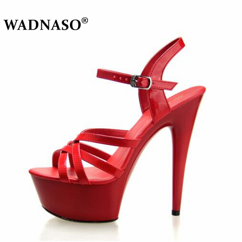 WADNASO Steel Pipe Dance Shoes Women fine with high-heels 15cm Female Sexy Platforms Sandals Show Lady superb high-heeled 34-43