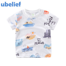 UBELIEF New 2017 Summer Baby Girls Tees Cartoon Print Bulilding 100% Cotton Baby Boys Clothes Kids Sweat Absorbing T Shirts
