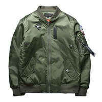 New Street fashion Men Bomber MA1 jacket Retro Embroidery Anarchy Coat Solid color Badge Black Red Army green