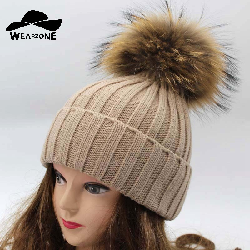2017 Winter New Skullies Beanies Hat real raccoon fox fur Hat pompomWomen knitted casual cap solid colors gorros cap skullies