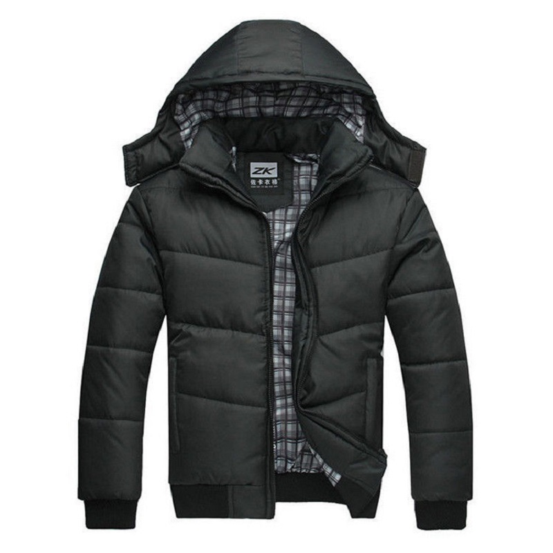 winter jacket men quilted black puffer coat warm fashion male ... : mens quilted hooded jacket - Adamdwight.com