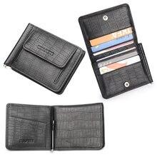 9676bfb6212 Zwarte Koeienhuid Lederen Geld Clip w/broekzak Zakelijke Creditcard Houders  Kleine Slanke Portemonnee Mannen billeteras Portfel