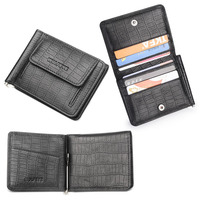 Black Cowhide Genuine Leather Money Clip W Coin Pocket Business Credit Card Holders Small Slim Wallet