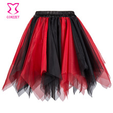 Black Red Asymmetrical Ruffle Layered Mesh Tulle Skirt Burlesque Costumes Petticoat Sexy Adult Tutu Skirt Women Corset Skirts