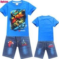 Summer Boys Ninja Ninjago T Shirts Children Clothing Sets Cotton Boys Jeans Sport Suits Kids Costume