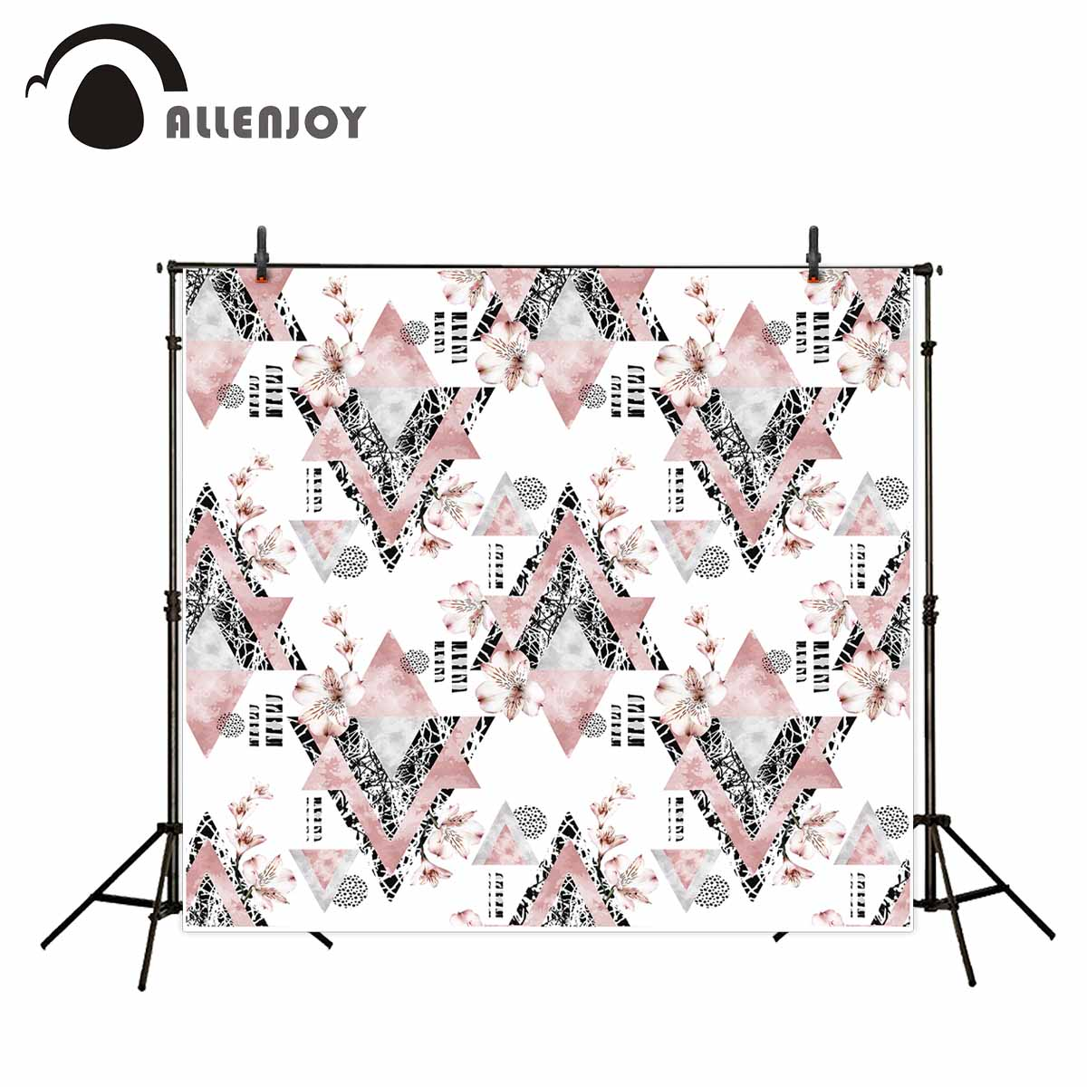 Allenjoy photography backdrops Abstract fashion stylish background Pink vintage flowers triangles backgrounds for photo studio