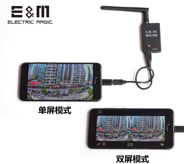 E & M 5.8G FPV récepteur UVC vidéo liaison descendante OTG VR téléphone Android PC Micro USB APM Pix fishDrone GCS collecte carte Transmission