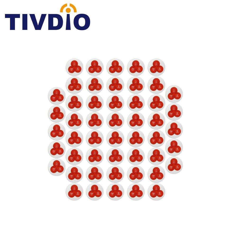 TIVDIO 50 шт. Беспроводной вызова Системы колокол пейджер кнопку вызова передатчик для ресторана пейджер для отеля Ресторан оборудования F4413B