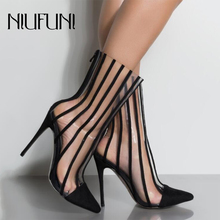 Fashion PVC Transparent Boots Sandals Pointed Toe Thin High Heels Shoes Clear Mujer Women Black Striped Party