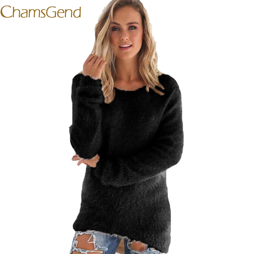 Chamsgend Jumper Newly Design Women Winter Warm Fluffy Jumper Sweaters Female Long Sleeve Pullover Coat 70922 Drop Shipping