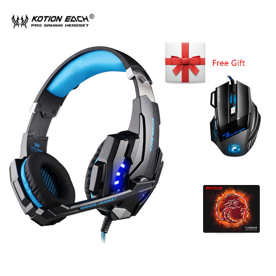 KOTION EACH G9000 3.5mm Gaming Headphone Headset Earphone Headband with Microphone LED Light for PS4 Laptop Tablet Mobile Phone