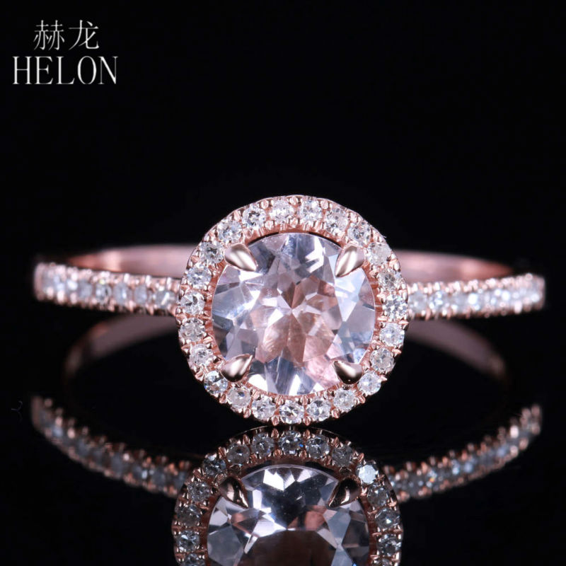 HELON Pave Natural Diamonds & Prong Sharp Claws Engagement Wedding Ring 6mm Round Shape Morganite Ring Solid 14K Rose GoldHELON Pave Natural Diamonds & Prong Sharp Claws Engagement Wedding Ring 6mm Round Shape Morganite Ring Solid 14K Rose Gold