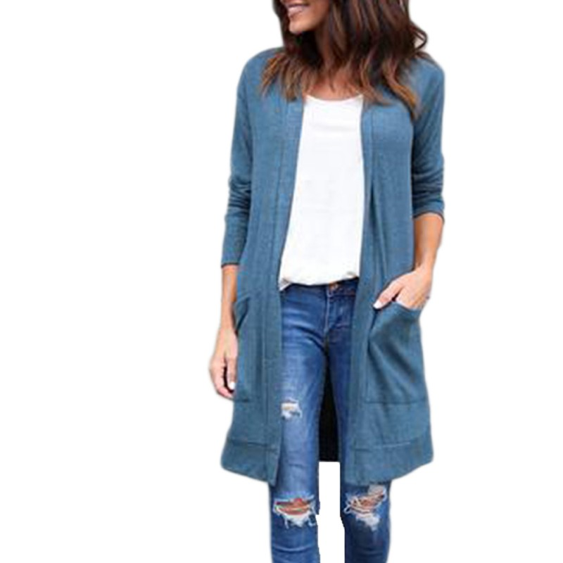 Women Autumn Winter Open Stitch Poncho Long-sleev Knitting Sweater Cardigans V neck Oversized Cardigan Jacket Coa