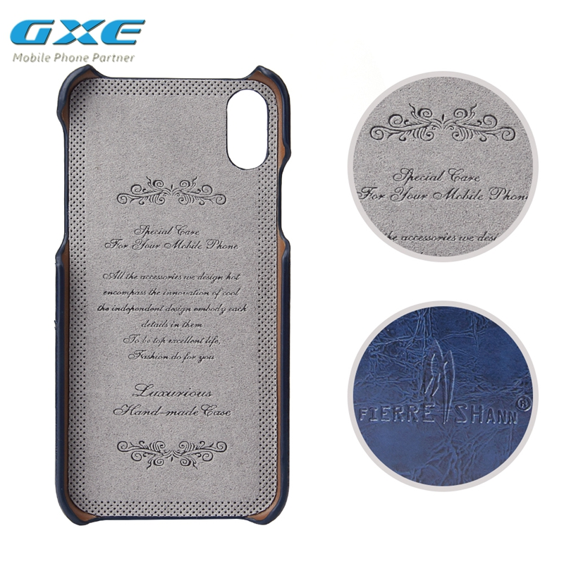 GXE Back Cover Case For IPhone 10 Luxury Vintage PU Leather For