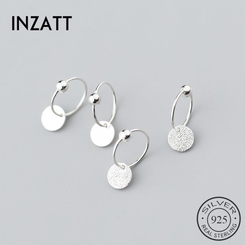INZATT Real 925 Sterling Silver Minimalist Round Bead Hoop Earrings For Trendy Women Party Fashion Jewelry OL Accessories Gift