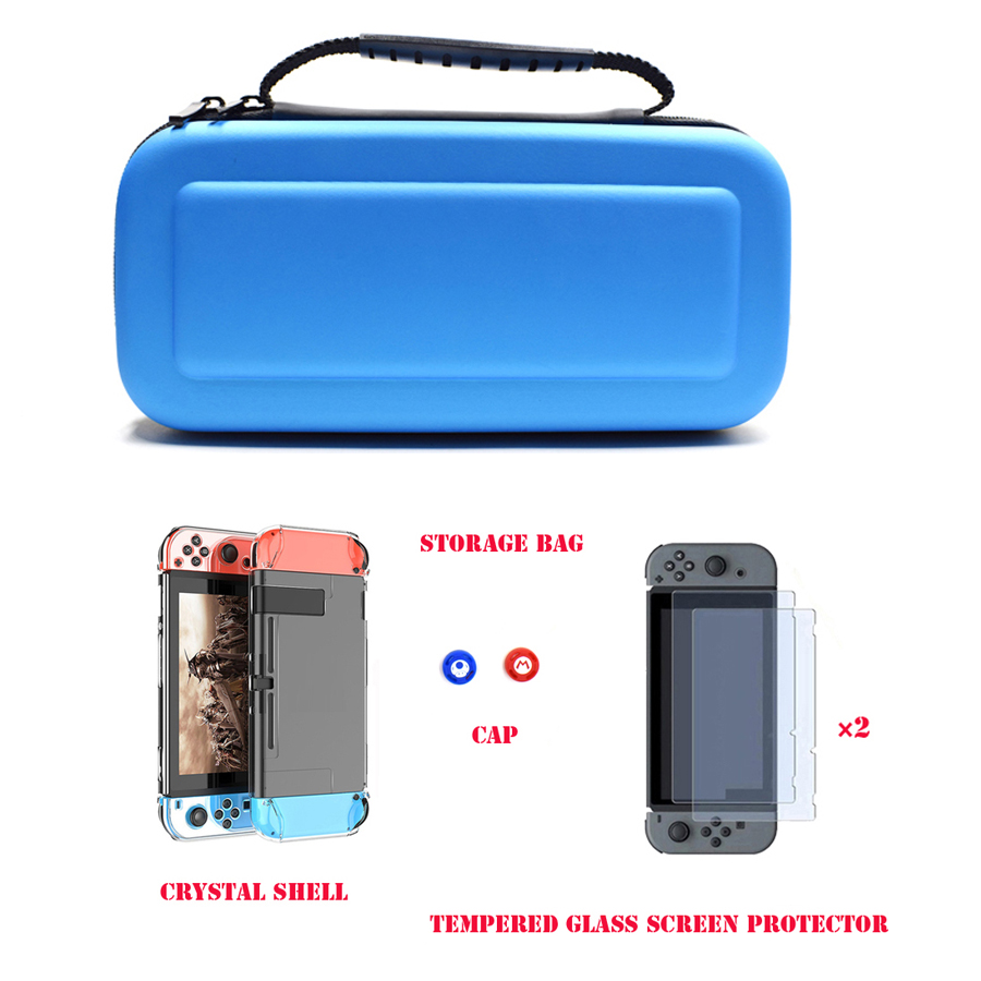 6 in 1 Kit Carrying Bag Storage Box Hard Case for Nintend Switch Console NS&Glass Screen Protector&Crystal Shell&2 Analog Caps  1