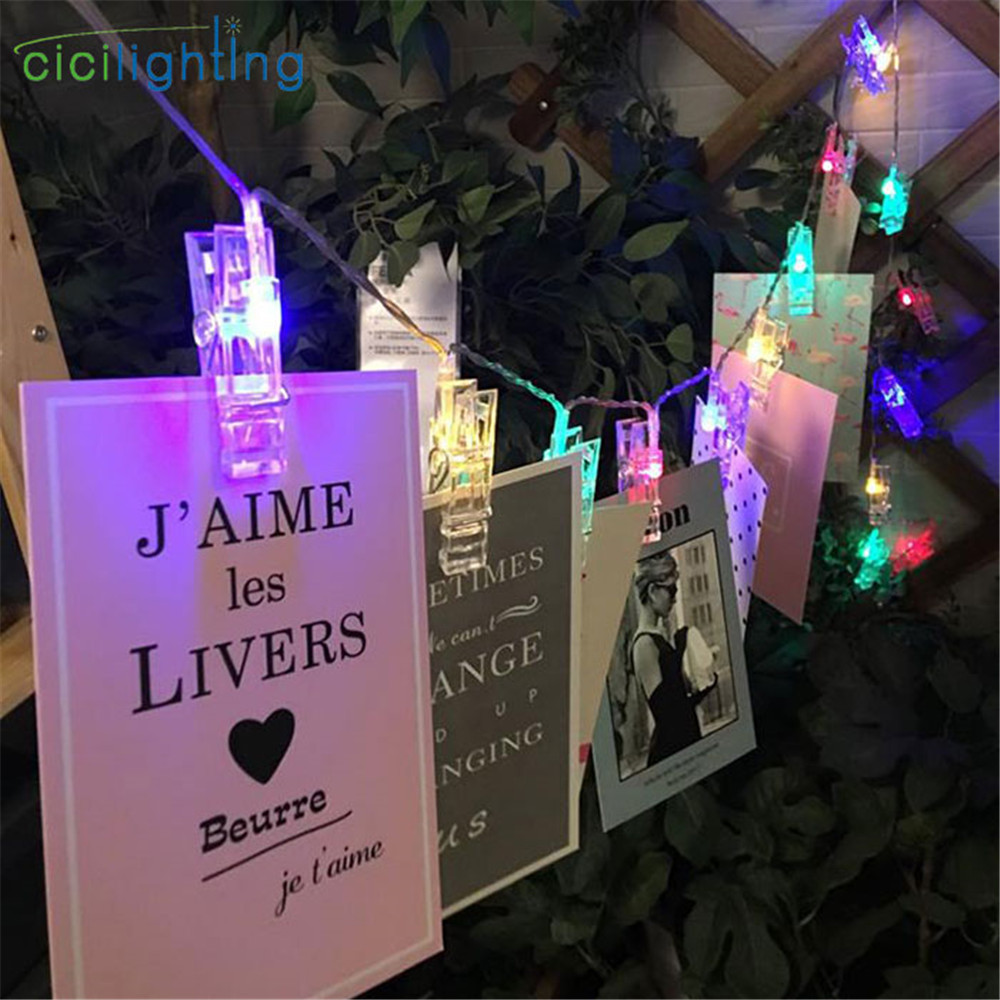 2m 20 Light Photo Clip Holder Lamp Colorful LED String Lights Battery Garden Yard Party Wedding Home Decoration Fairy Lights