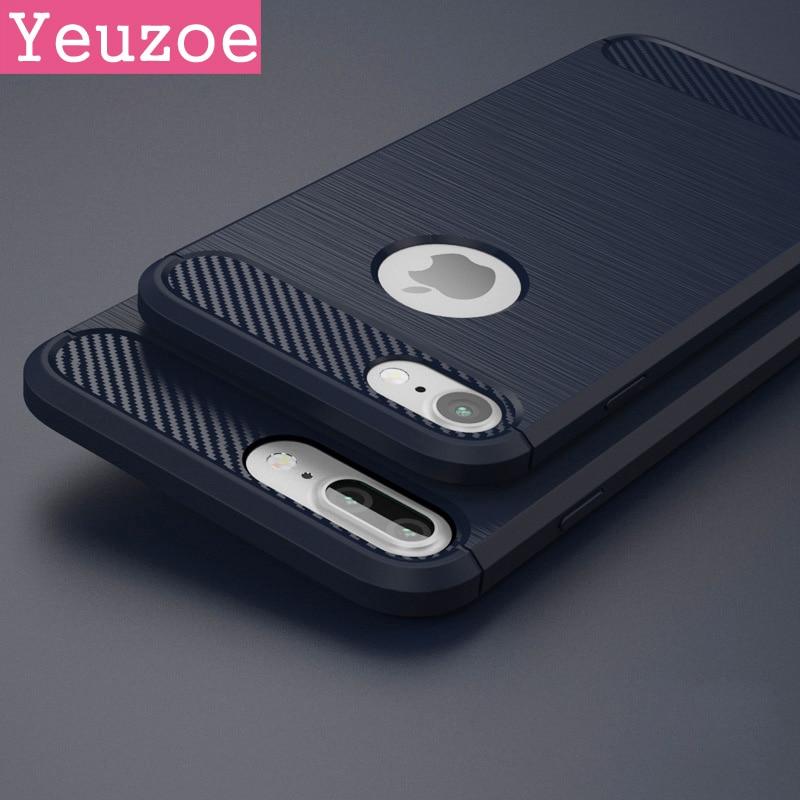 Fibră de carbon Textura periată Moale TPU pentru iPhone 7 6 6s 5 5s - Accesorii și piese pentru telefoane mobile