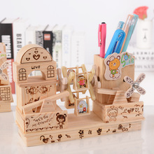 Newest ! Vintage Fashion Wood Music Box Musical Finished Wooden Lovely Windmill House Pen Container Wood Crafts Home Decor