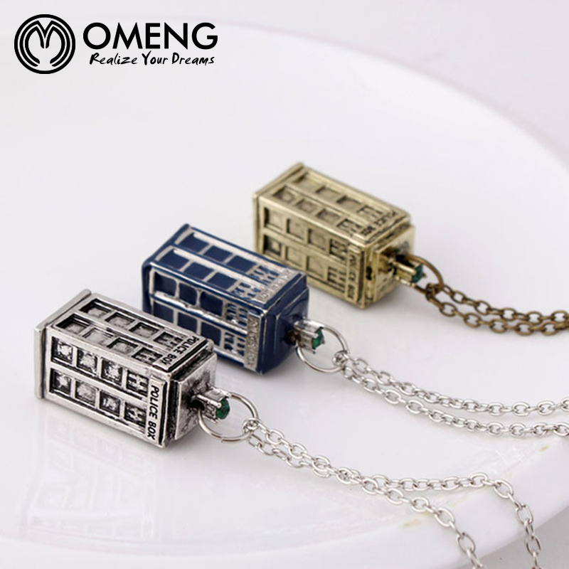 OMENG Dr. Mysterious House Necklace Doctor Who Building Police Box European and American Film Pendant Necklaces OXL233