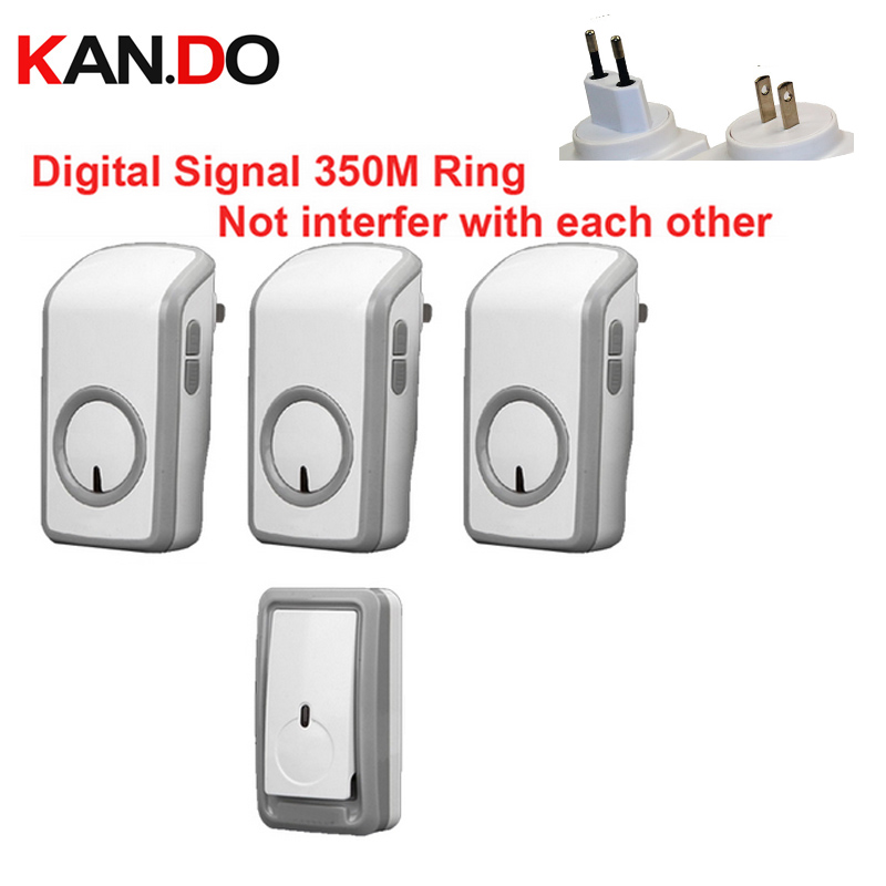 Euro/US plug digital signal bell with 3 receivers wireless doorbell Waterproof 380 Meter door chime 48 melodies door ring cacazi wireless cordless doorbell remote door bell chime one button and two receivers no need battery waterproof eu us uk plug