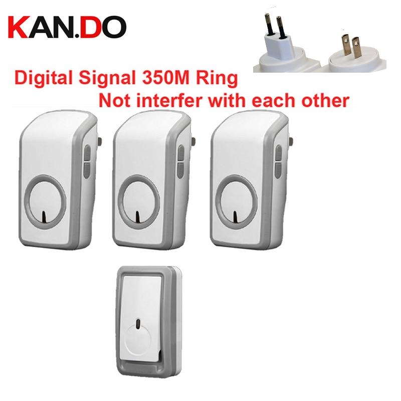 Euro/US Plug Digital Signal Bell With 3 Receivers Wireless Doorbell Waterproof 380 Meter Door Chime 48 Melodies Door Ring
