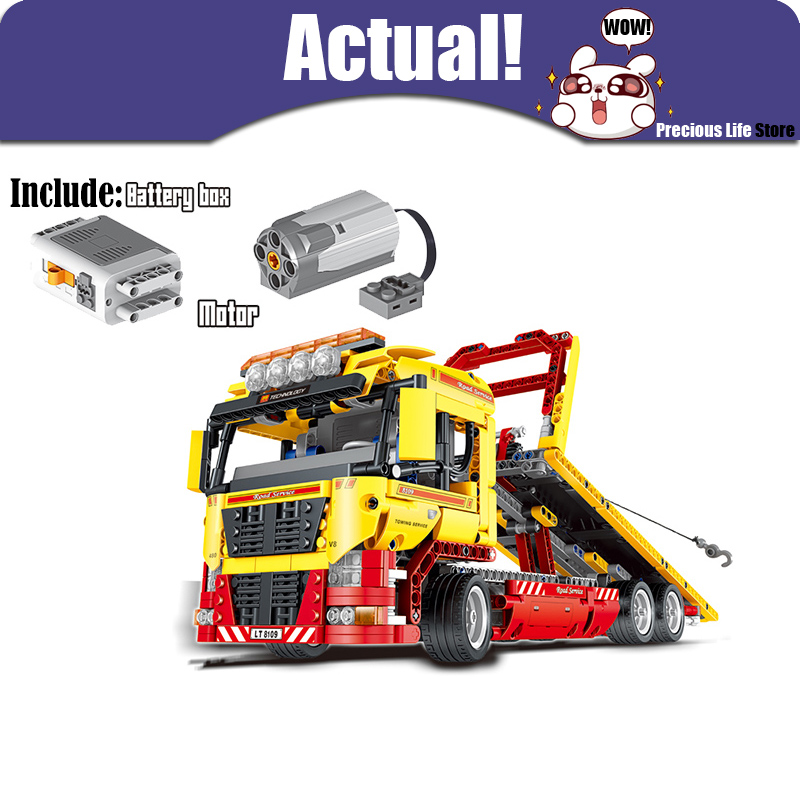 LELE 38042 Flatbed Truck Technic Model Building Blocks Bricks Toys Educational For Children brinquedos Compatible legoINGly 8109