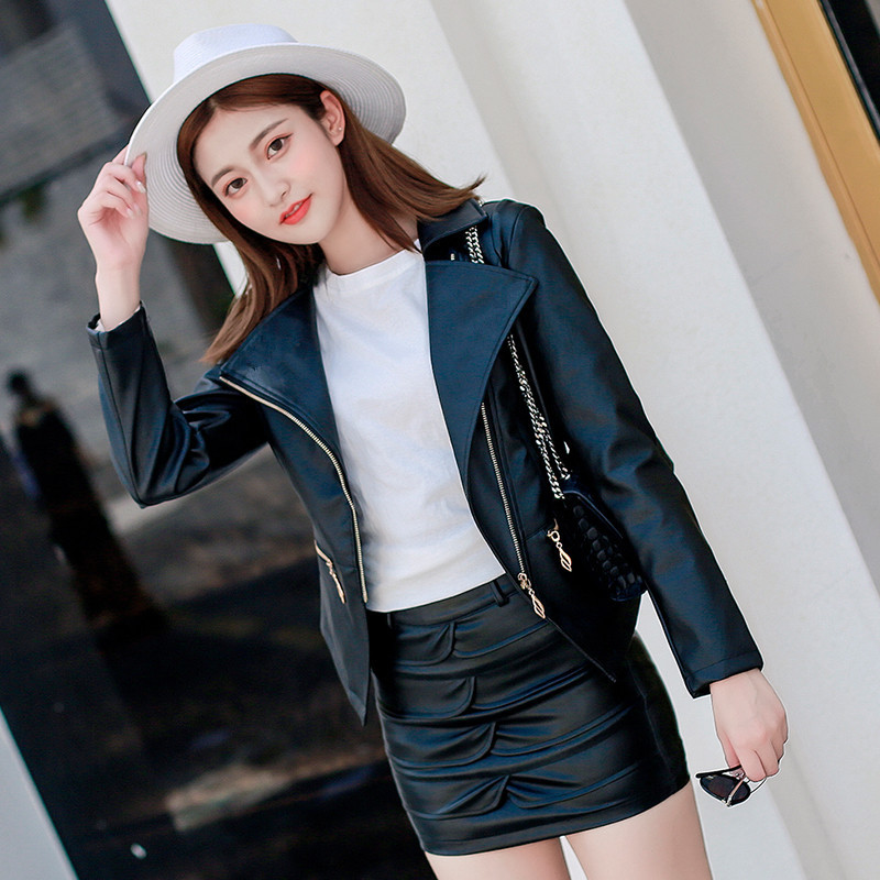 579c558e9 US $13.11 31% OFF|Women New Fashion Tops+Skirt Autumn Leather Jacket Short  coat 2018 Korean Slim Fitting Locomotive PU Parkas Faux Leather M XXL-in ...