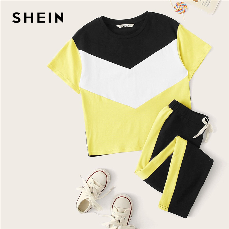 Image 5 - SHEIN Kiddie Girls Colorblock T Shirt And Drawstring Waist Pants Set Children 2019 Summer Active Wear Short Sleeve Suit Sets-in Clothing Sets from Mother & Kids