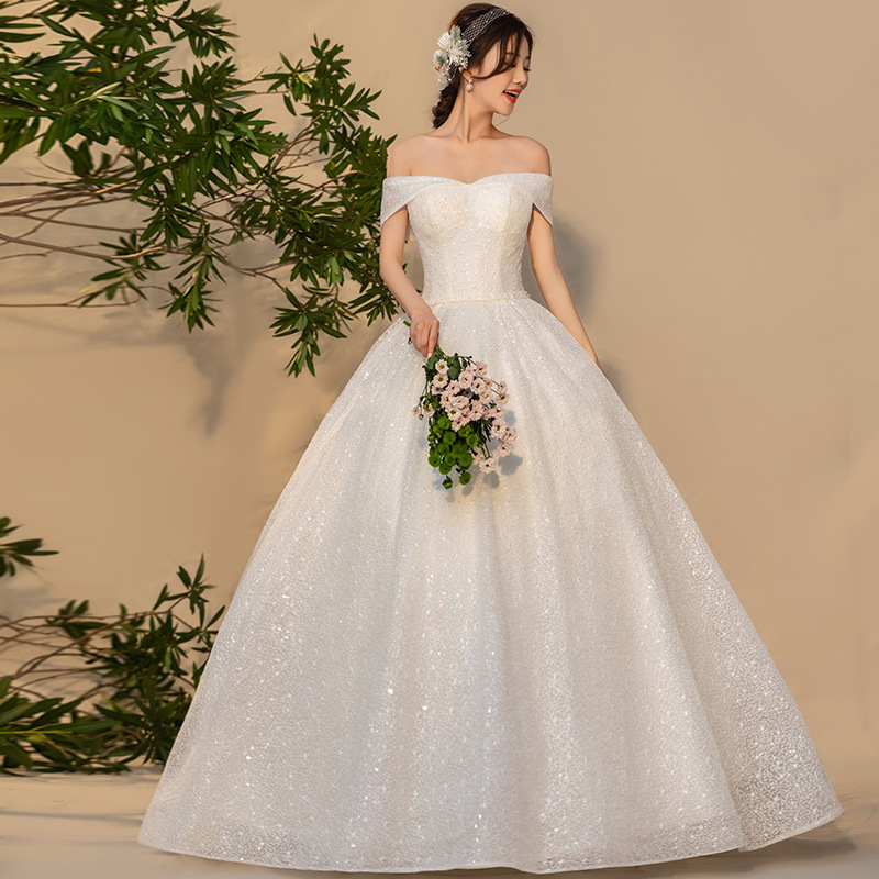 2020 High Quality Bridal Dress Floor Length Ball Gown Simple Off The Shoulder Bride Wedding Dresses Robe De Mariee 05451