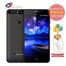 """Leagoo Kiicaa Puissance Smartphone 5.0 """"Double Arrière Caméra Quad Core MTK6580A Android 7.0 téléphone portable 2G + 16G d'empreintes digitales 3G mobile téléphone"""
