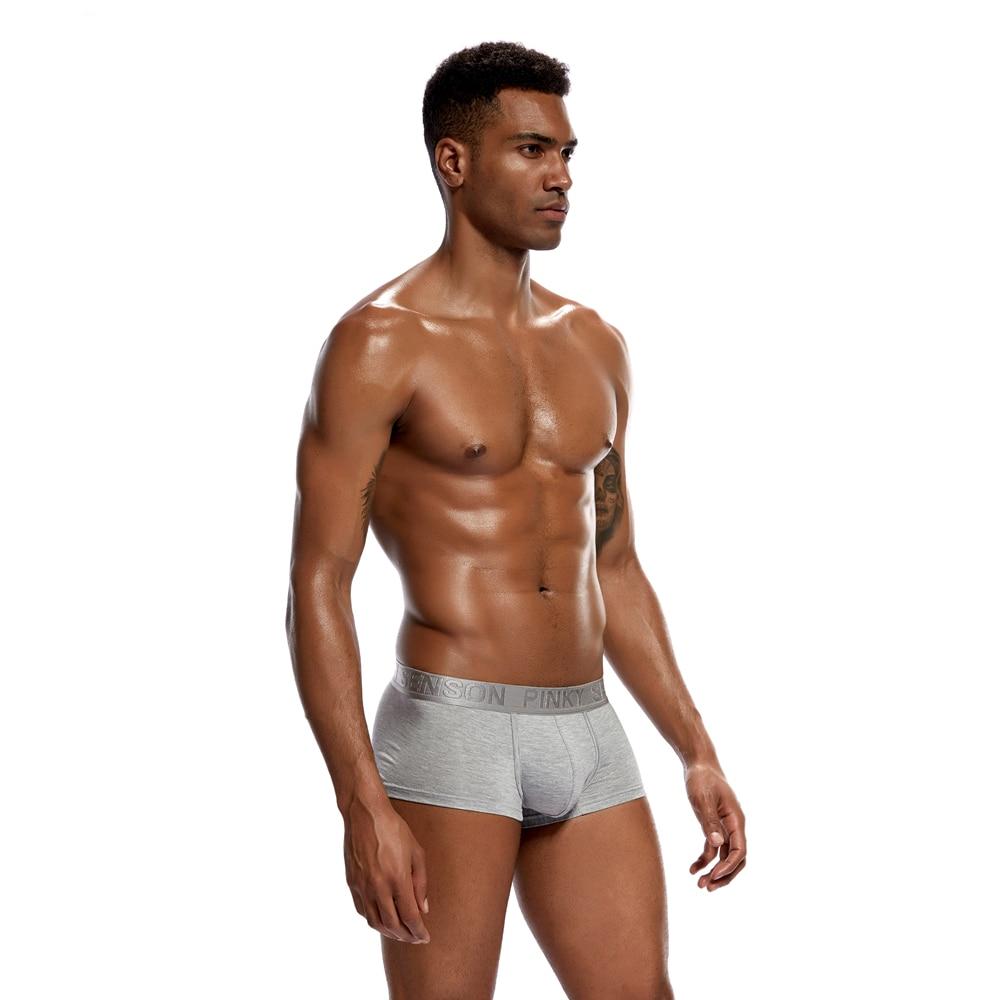 4pc/lot Pinky Senson Soild Bright Color Sexy Men Boxers Shorts Cotton Men Underwear Push Up Hips Knickers Male Underpants