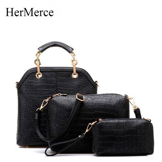 Hermerce Vintage Designer Handbags High Quality Alligator Bag Female Women Messenger Bags Leather Shoulder