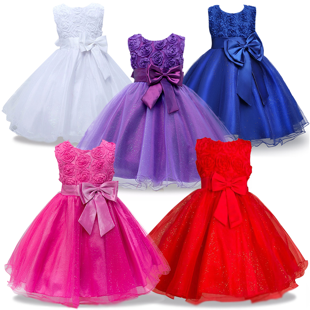 Christmas Princess   Flower     Girl     Dress   SummerTutu Wedding Birthday Party   Dresses   For   Girls   bowknot   dress   Children Party Vestido