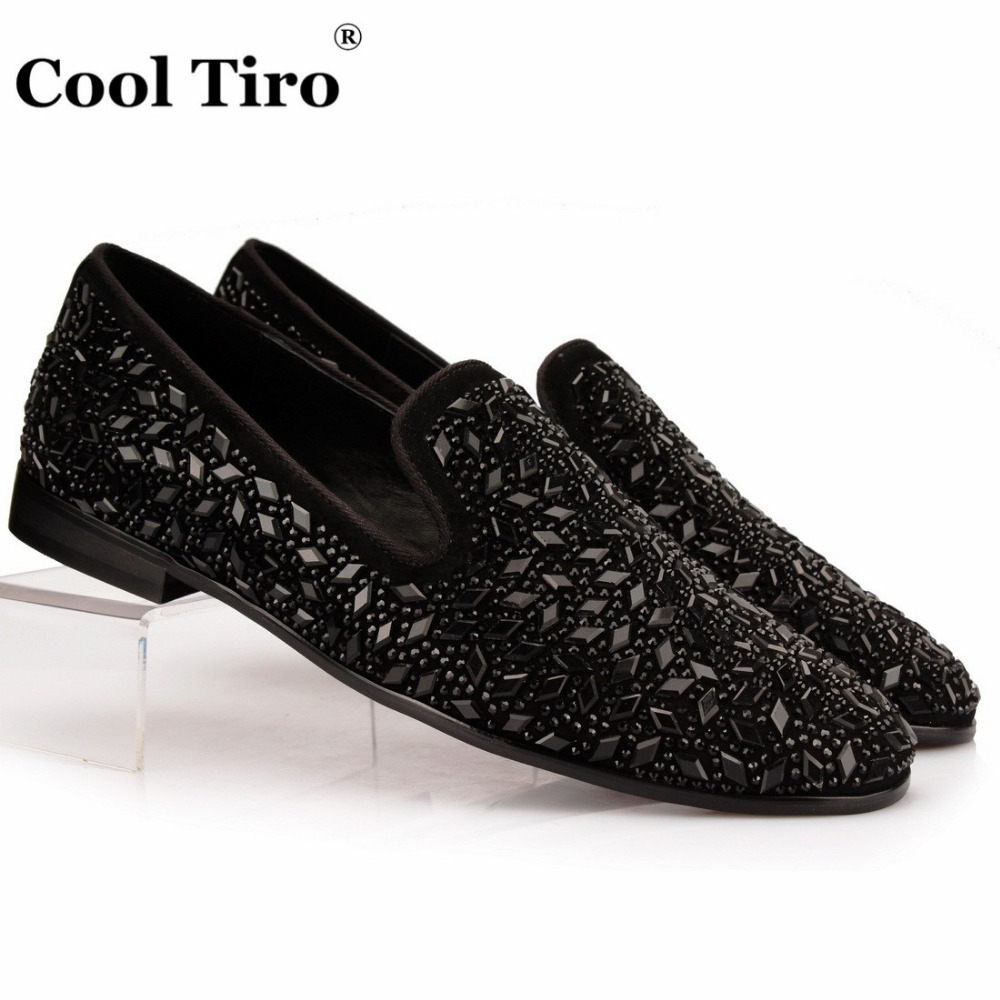 COOL TIRO Party rhombus Crystals diamond Men s Crafted Slip-on Shoes Black  hot drilling Loafer f16b56ab4487