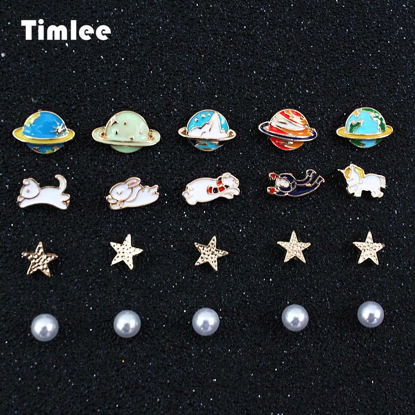 Timlee E067 Free Shipping, indah Hewan Kelinci Kucing Bintang Planet Imitasi Pearl Studs Earrings Set, 4 pcs/Set grosir.