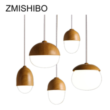 ZMISHIBO Indoor Solid Wood Pendant Lamp Oak Fruit Shape Lights E27 Light Fixtures LED Vintage Cord For Dining Room