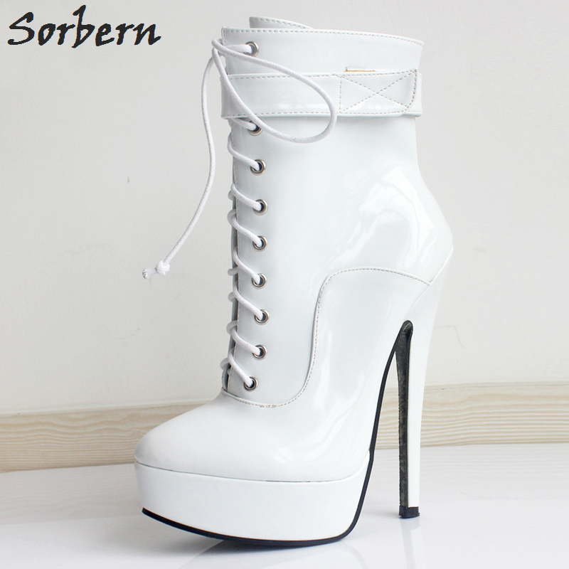 Sorbern Ankle Boots For Women Plus Size Custom Made Color Patent Leather Spike Heels Lace Up Fashion Unisex Party Boots Sexy ensemble stars 2wink cospaly shoes anime boots custom made