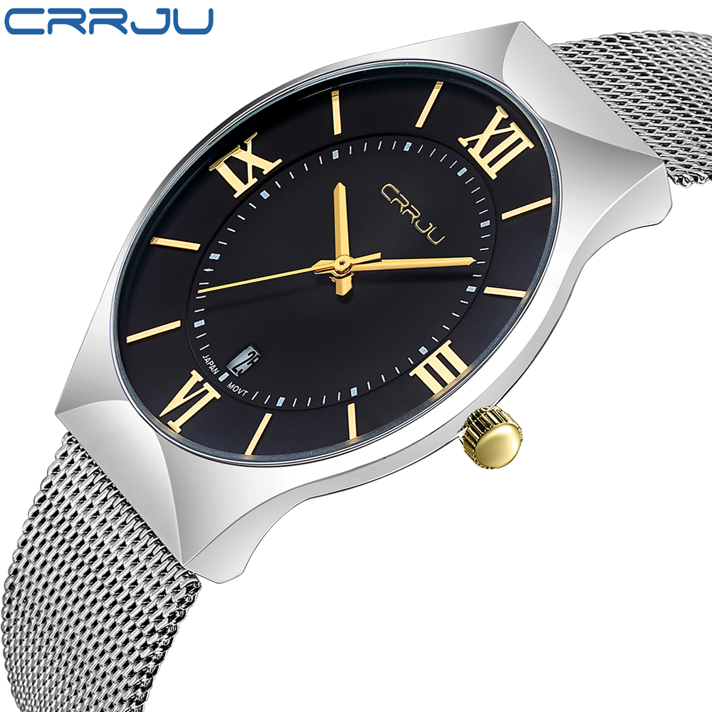 CRRJU High Quality Fashion Simple Mens Watches Stainless Steel font b Quartz b font Watch Men